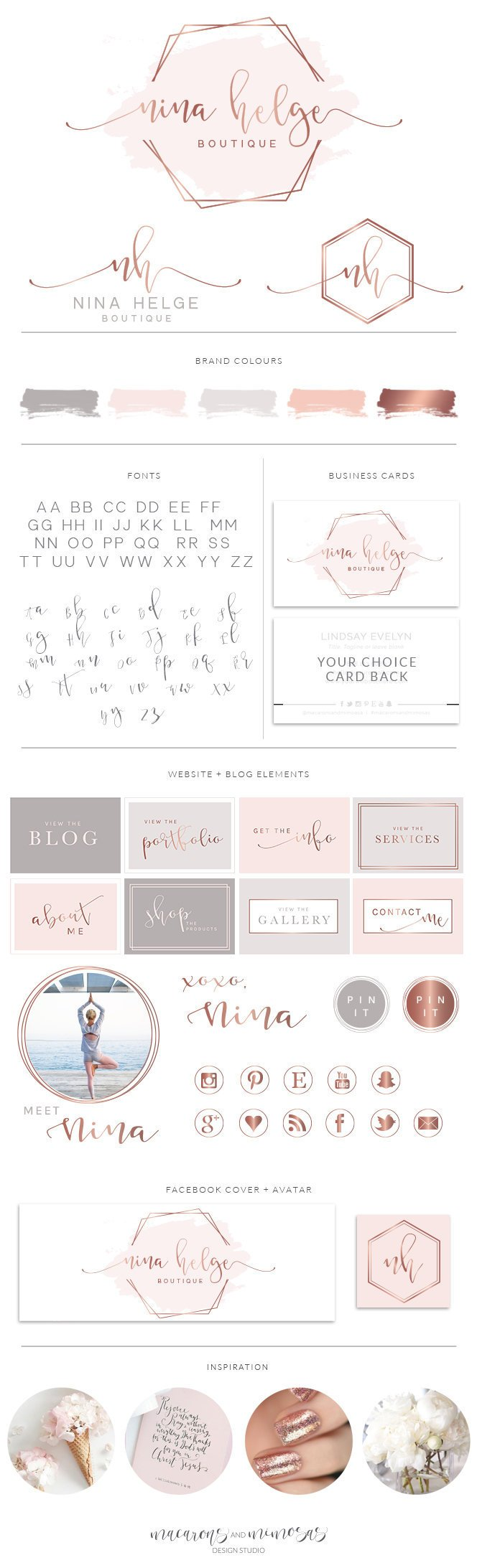 Rose Gold Premade Logos