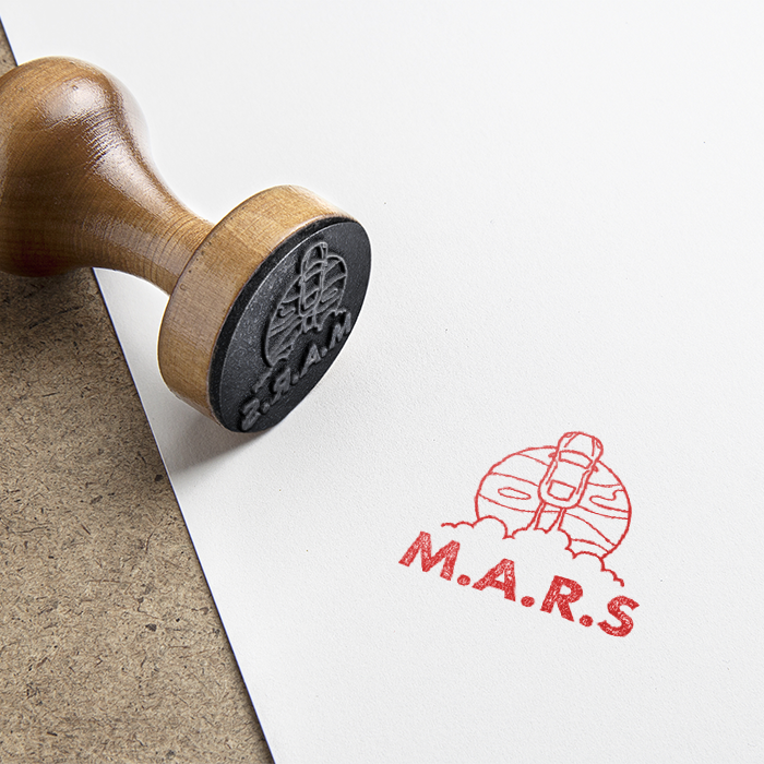 M.A.R.S Rubber stamp design.