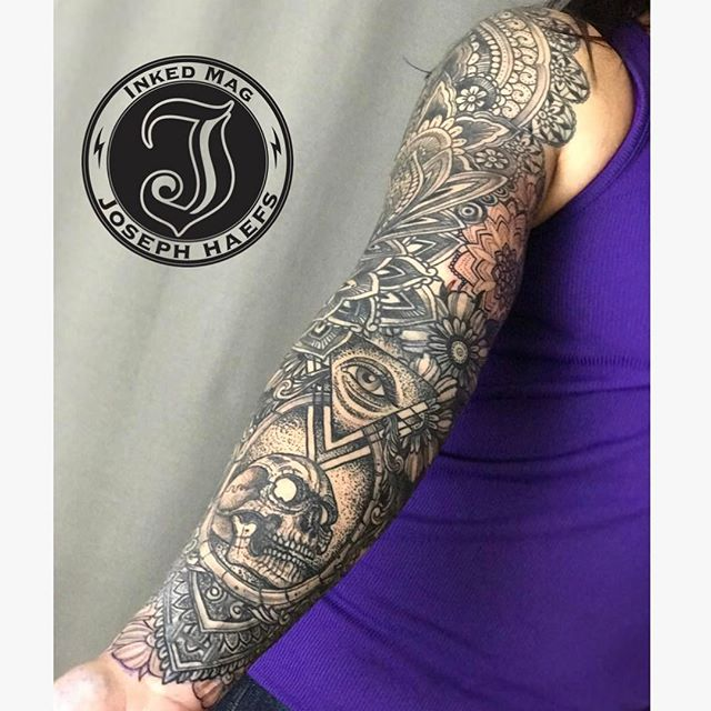 Almost finished with @carla1knight 's sleeve. See you in May to finish. Love you girl!! 😘❤️ @reverenttattoo @josephhaefstattooer @inkedmag @goodguysupply @equaliser_usa @afterinked