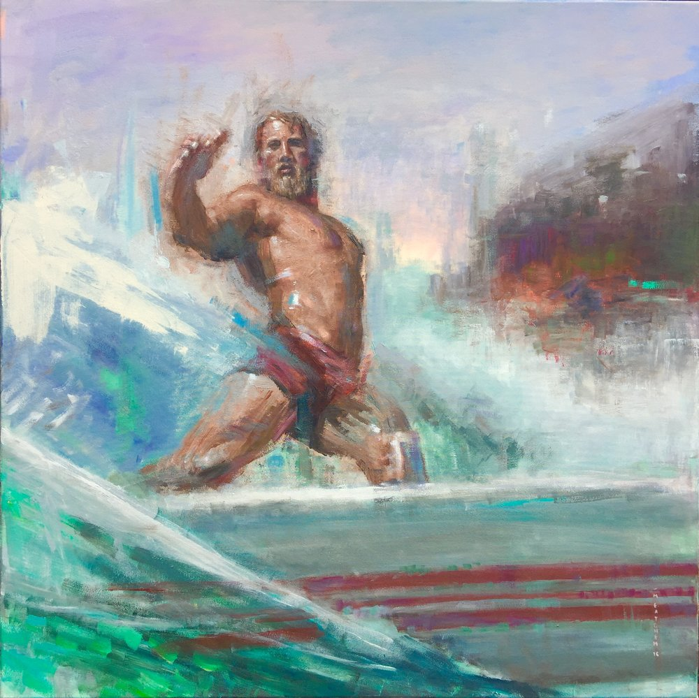 Poseidon Rides A Longboard