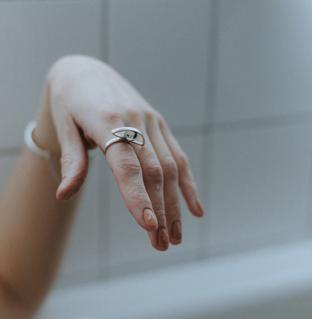 EYESEEi. VOERKES ring in Sterling silver with a raw Herkimer Diamond.  The word means achivement in The Northern Sami dialect.  Price: 1600 SEK Photo: Anna Maria Liljestrand