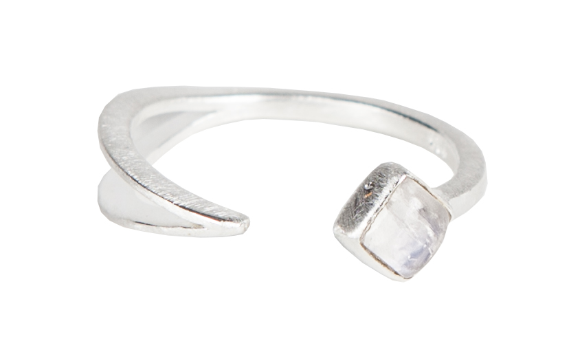 EYESEEi' s hand made ÁVVU ring in unpolished recycled Sterling silver with mattifying finish and a Rainbow moon stone crystal. The word means joy in The Northern Sami dialect. Price: 340 SEK Photo : Olle Enqvist