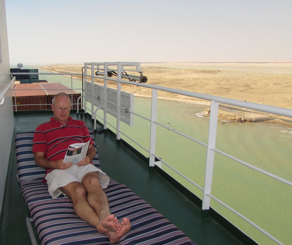 Relaxing while crossing the Suez Canal