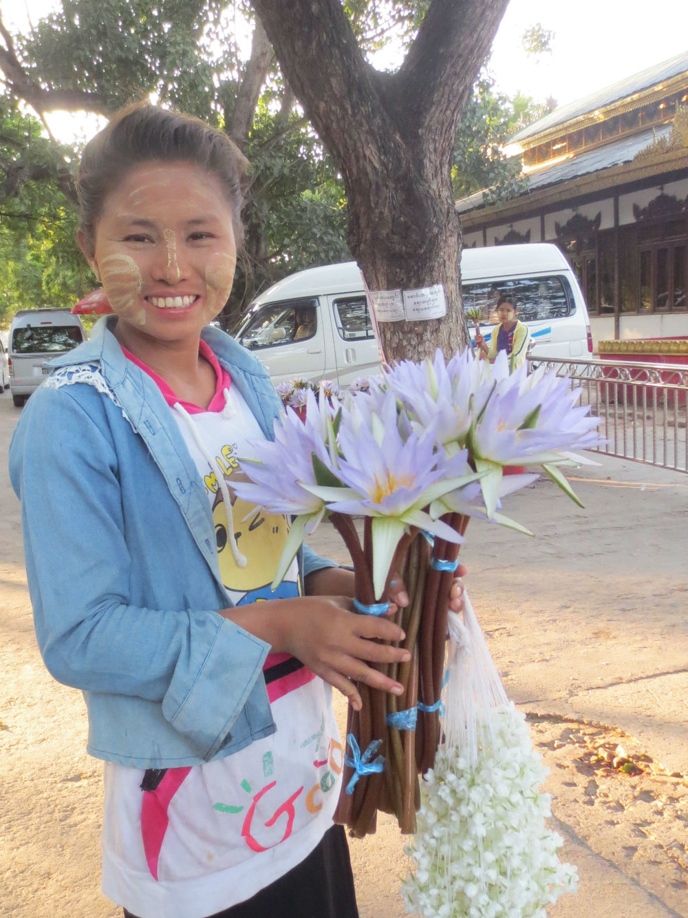 Girl selling flowers