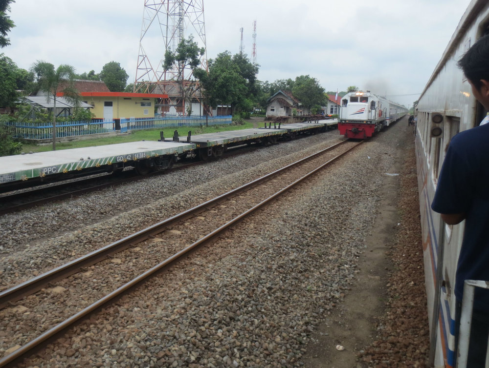 Passing approaching train between Yogyakarta and Banyuwangi