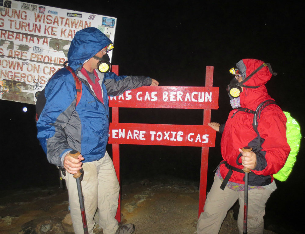 Toxic gas warning on top of Ijen crater