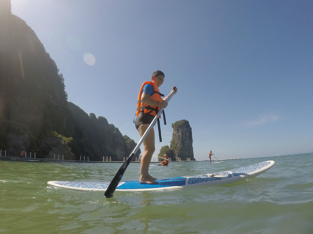 Francien Stand-up Paddling in Krabi, Thailand between Christmas and New Year
