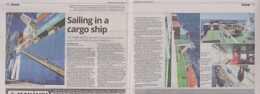 The Star Malaysian national newspaper article about our boat trip from Rotterdam to Kuala Lumpur published in December 2015