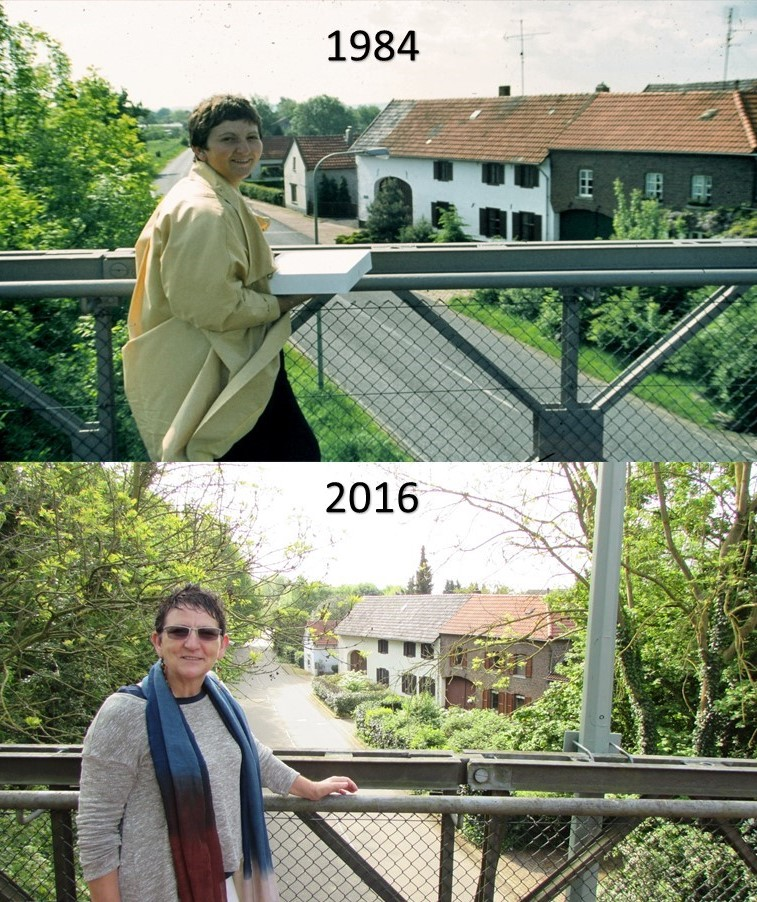 So much the same, so much different: Francien in front of her parents house in 1984 and 2016