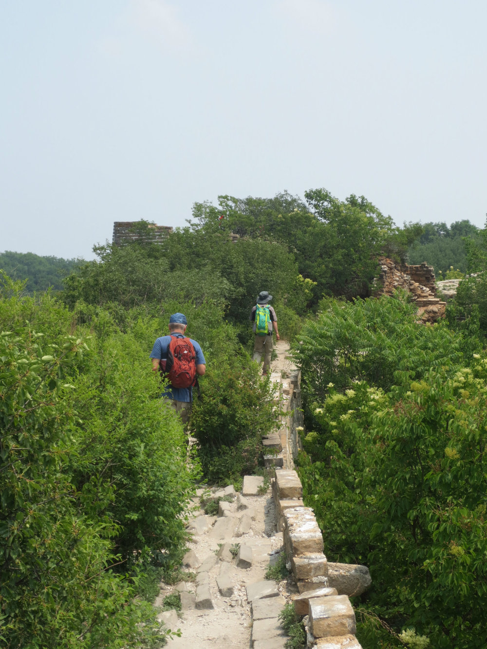 Hiking on the non-renovated parts of the Great Wall