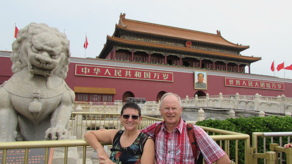 In front of the Forbidden City in Beijing