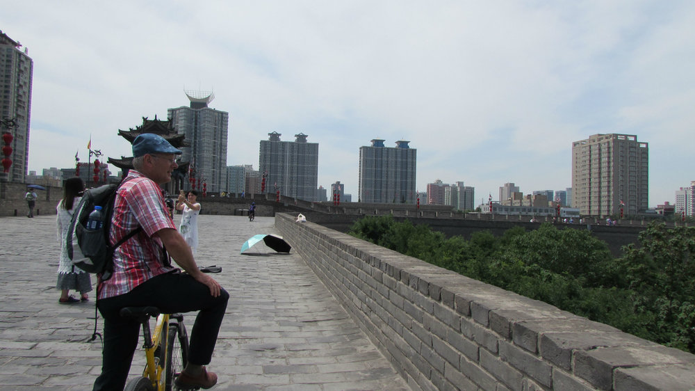 Cycling on top of the 15 kilometer Long City Wall in Xi'an