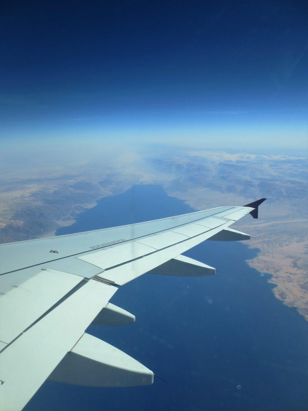36000 feet above the Gulf of Aqaba through the window of a Qatar Airways Airbus 320