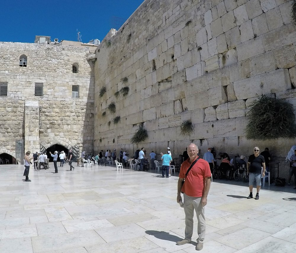 Frank standing in front of the Western Wall.
