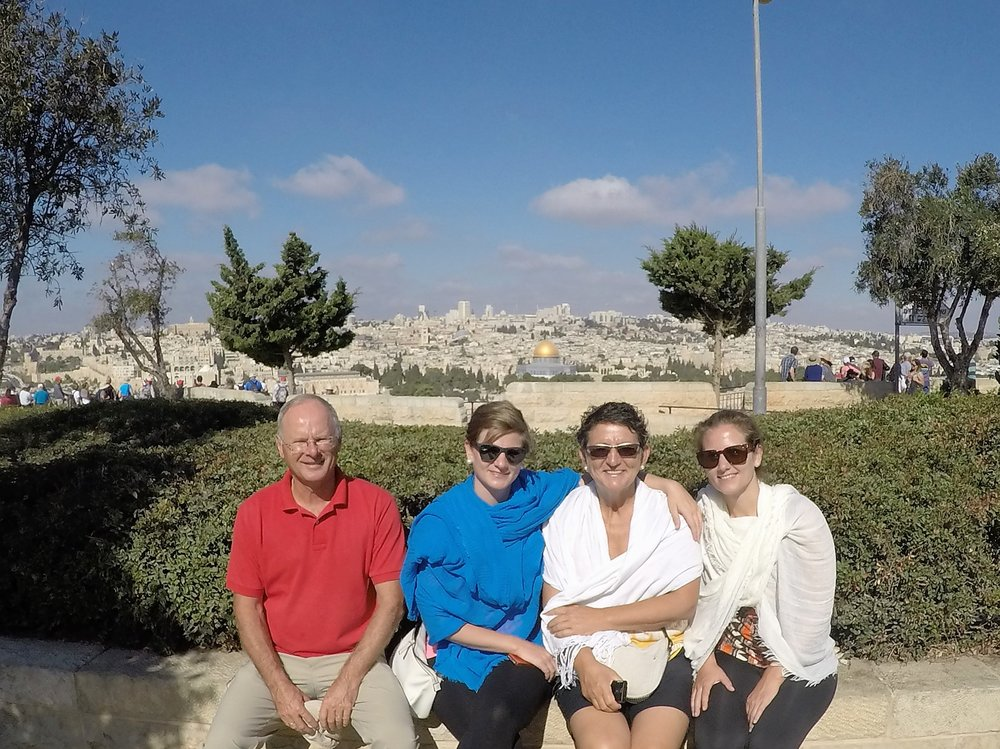 Francien, Frank, Marcella and Winnie on Mount of Olives with the Temple Mount in the background.