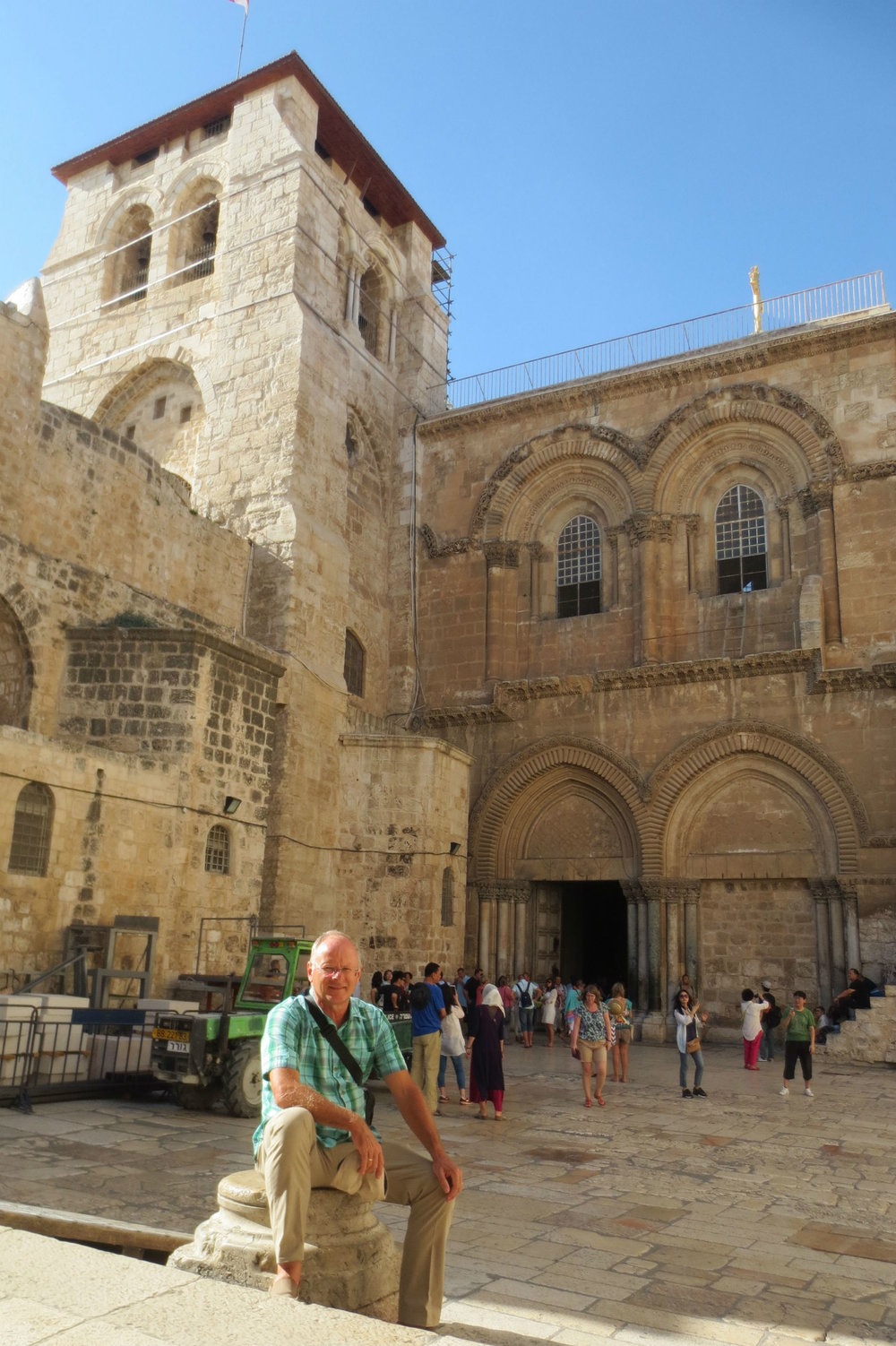 Frank in front of the Church of the Holy Sepulchre, the most holy place for Christians.