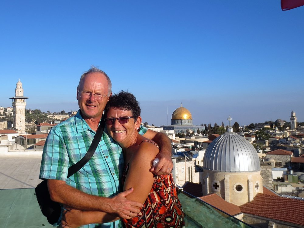 Francien and Frank on the roofs of the Old City in Jerusalem.