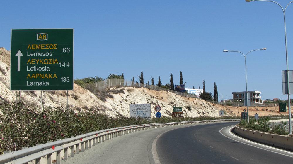 Highway between Larnaca and Paphos