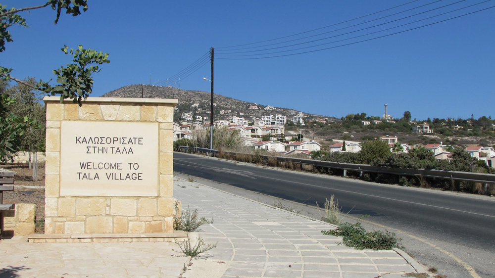 Tala welcome sign entering the village from Paphos