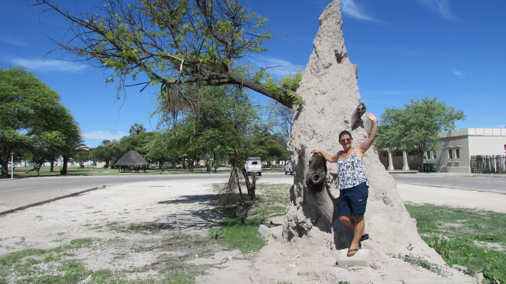Francien in front of termite mound at Namutoni camp