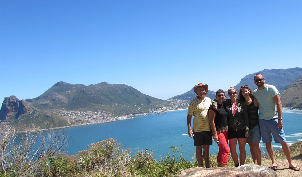 Brad, Winnie, Marcella, Francien and Frank on Chapmans Peak Drive with Hout Bay on the horizon