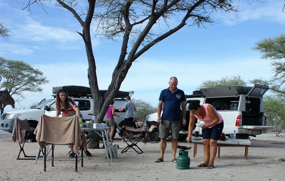 Francien preparing breakfast at Halali camp in Etosha National Park