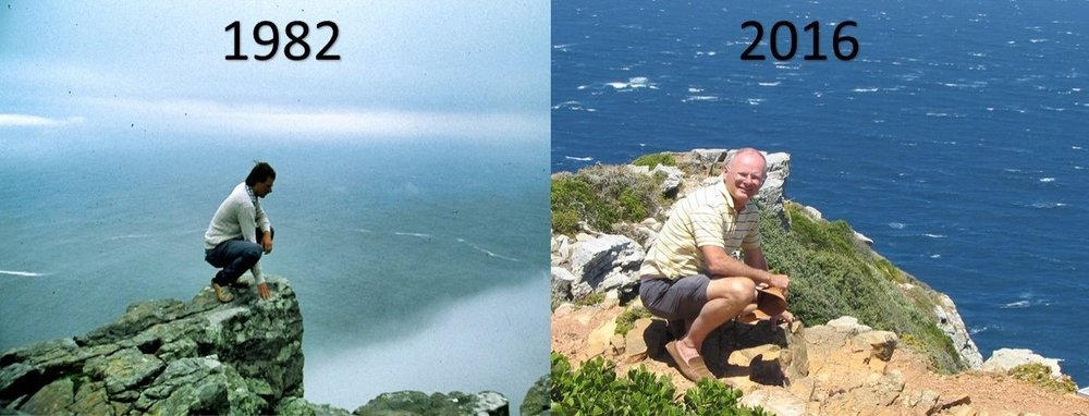 Frank at Cape of Good Hope when first visitng in 1982 and in 2016