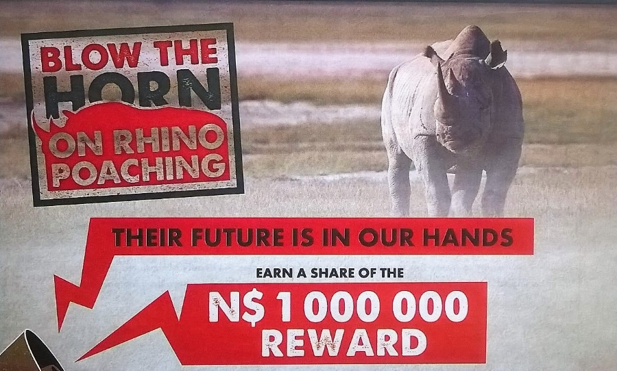 A poster offering a reward to help prevent Rhine poaching in Namibia