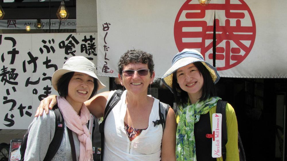 Noriko, Francien and Eriko in Hiroshima