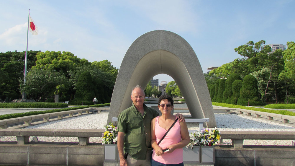 In front of the Cenotaph, in the Peace Park in Hiroshima