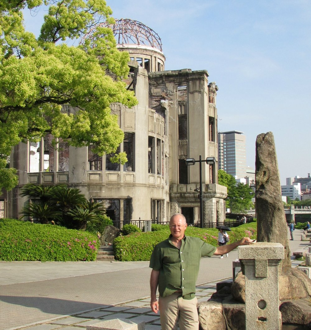 In front of the atomic dome in Hiroshima