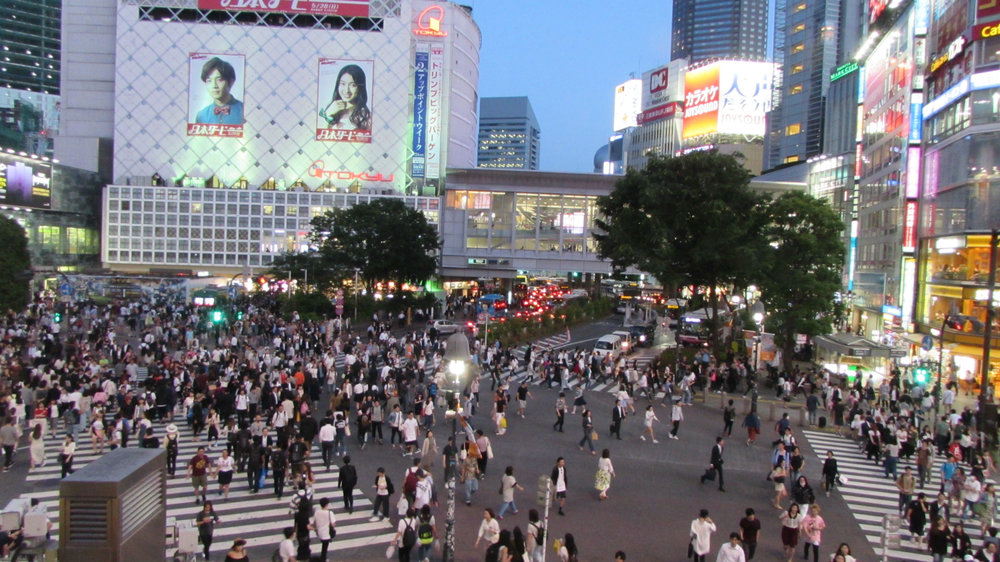 Organized chaos at the busiest pedestrian crossing in the world in Shubija, Tokyo