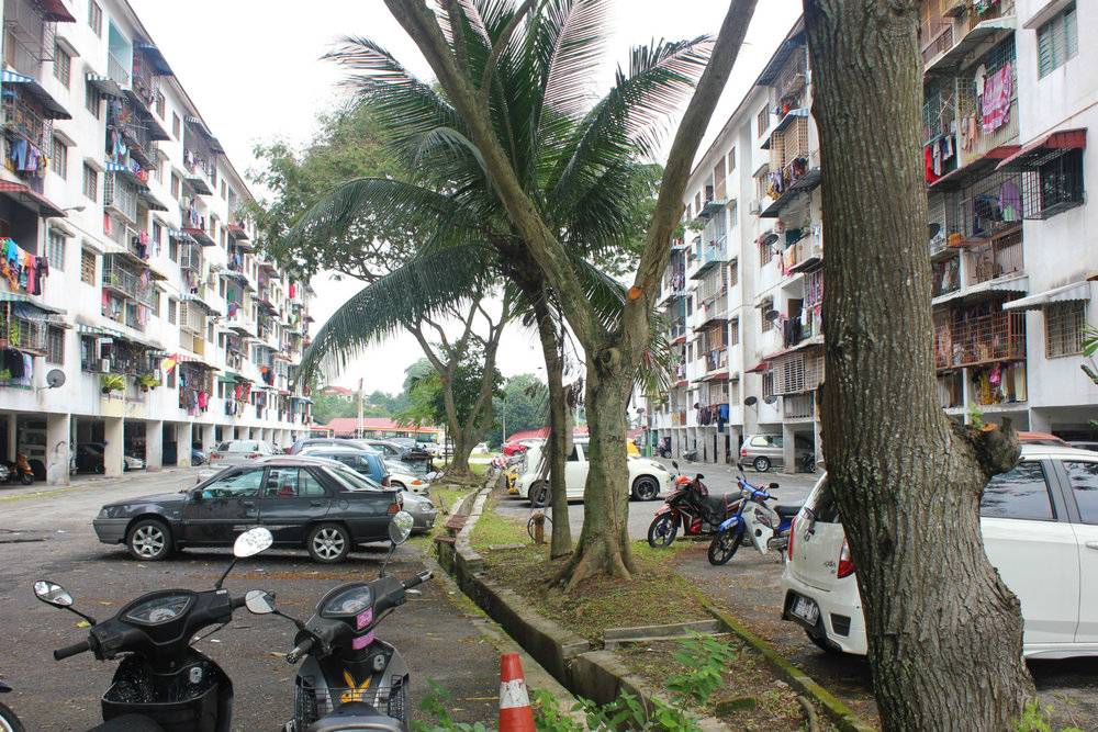 Run down apartment blocks in Ampang, a northerly suburb of Kuala Lumpur
