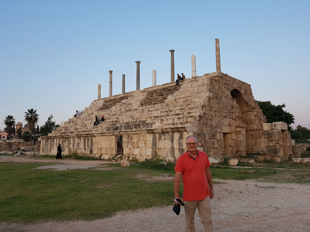 In front of Roman seating area inside the Hippodrome in Tyre