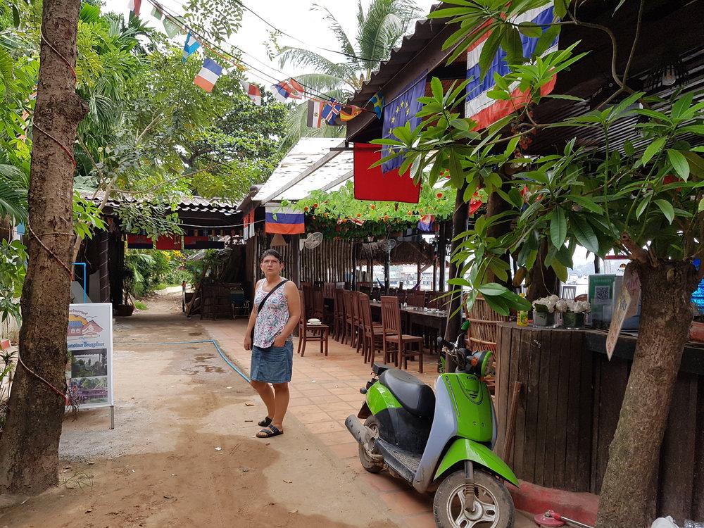 Francien strolling in alleyway in Sihanoukville