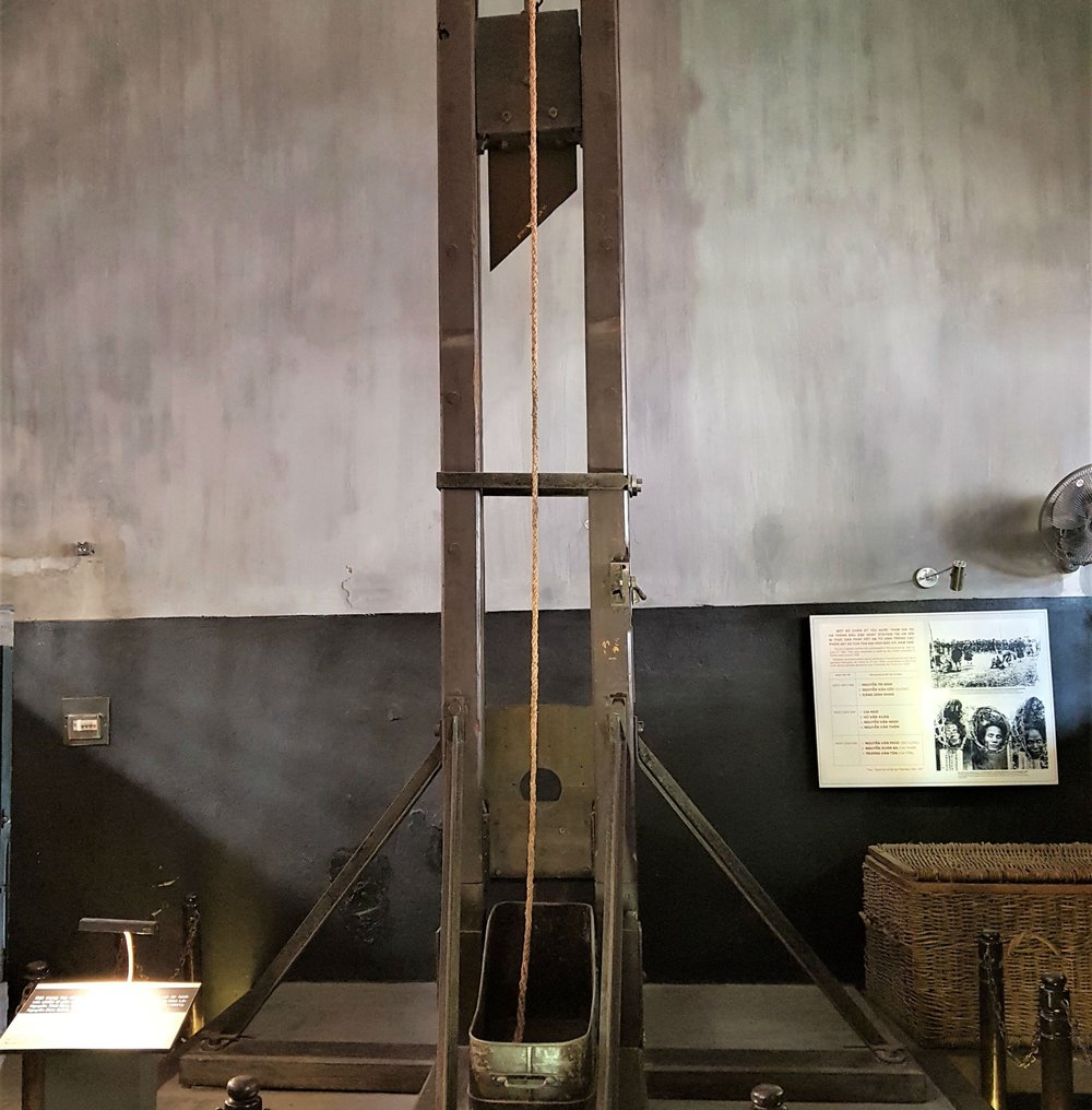Hoa Lo Prison: original guillotine used by the French colonists
