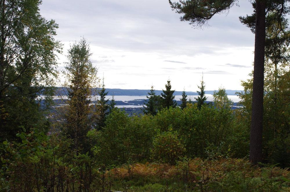 På veien opp kan man finne steder hvor man får fin utsikt mot Nesoddlandet