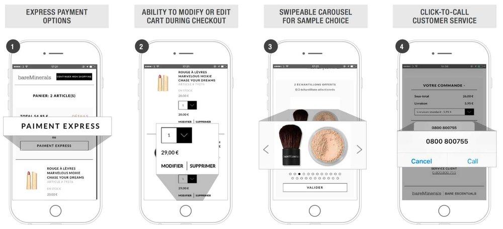 - bareMinerals:BareMinerals'ın mobil için tasarlanmış olduğu, basit ödeme işlemi sürecinden hemen anlaşılıyor. Çeşitli sayfalara tıklamak yerine sonsuz kaydırma yoluyla site çok daha verimli hale geliyor. Satın alımlardaki bedava numuneler, kaydırılabilir bir carousel üzerinden seçilebiliyor ve ürünler ödeme işlemi esnasında değiştirilebiliyor.