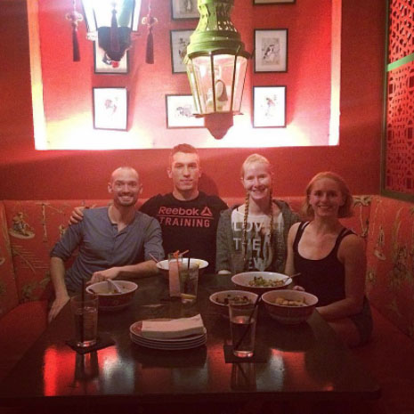 chris, nathan, katrina, & isis enjoying a meal in san antonio after friday's performance (image from  @theveganacrobat )