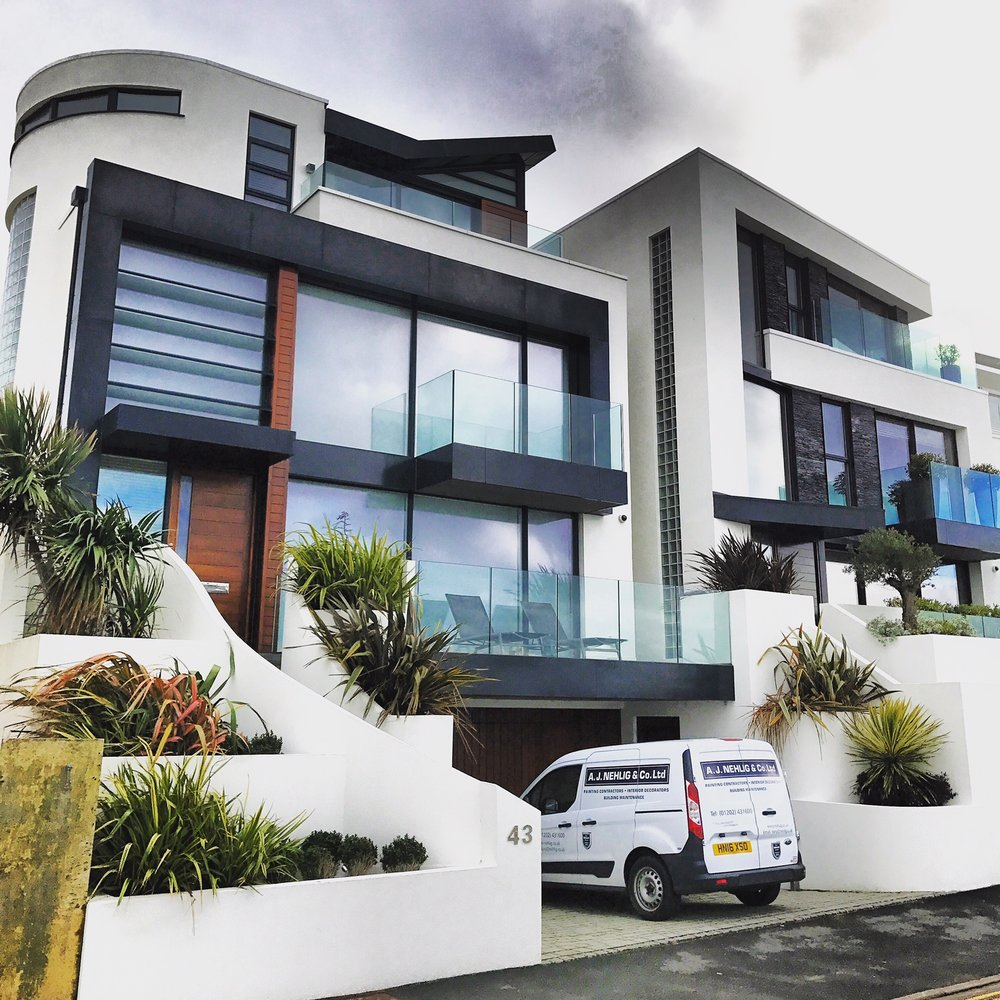 Recent redecoration of  a prestigious block of flats in Sandbanks, Poole