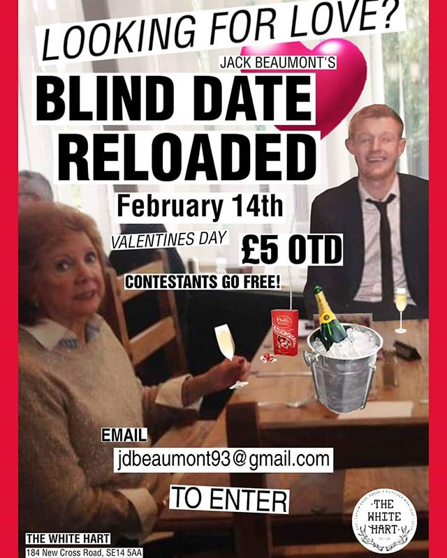 BLIND DATE: RELOADED is back in the building tomorrow! ❤️❤️❤️ Are you looking for love? Or a spot of entertainment? Guaranteed to find one of these here with us. £5 OTD