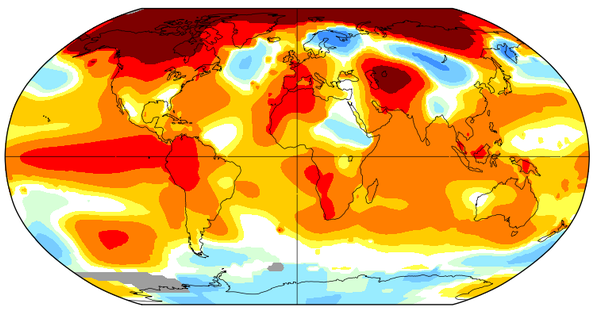 Areas in red on this graph were far, far hotter than they should have been in January.