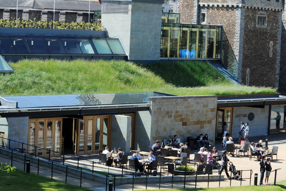 The Interpretation Centre green roof at Cardiff Castle -  Image credit.