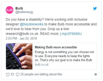 Tweet from Bulb reading 'Do you have a disability? We're working with inclusive designer heydonworks to make the site more accessible and we'd love to hear from you'
