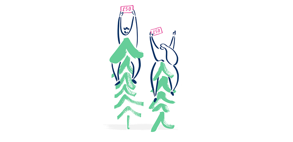 Illustration-of-Bulb-members-sitting-in-trees-waving-fifty-pound-notes