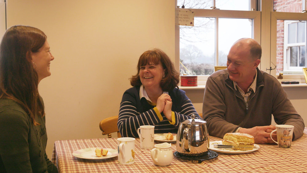 Clem from Team Bulb with Willie and Lynda, at home in their Farmhouse