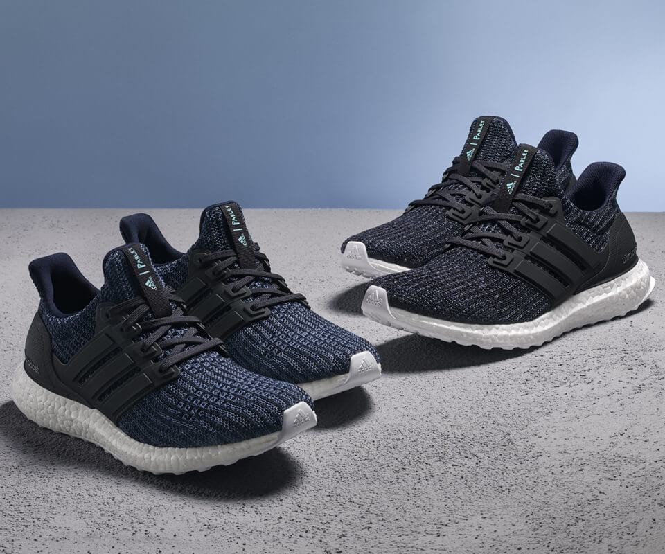 Adidas sold more than a million pairs of trainers made from 95% ocean plastic in 2017. Image credit:  Adidas