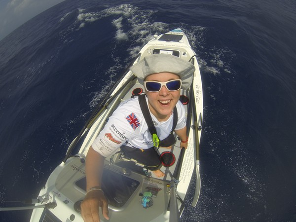 Sarah on a happier day in the middle of the Pacific, 2013.  Image credit: Sarah Outen