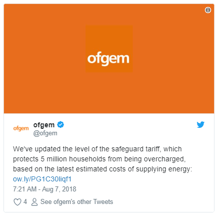 Ofgem announces it has raised the level of the safeguard tariff as a result of wholesale costs on Twitter