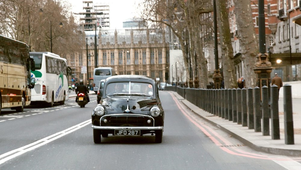 Riding around in the electric Morris Minor
